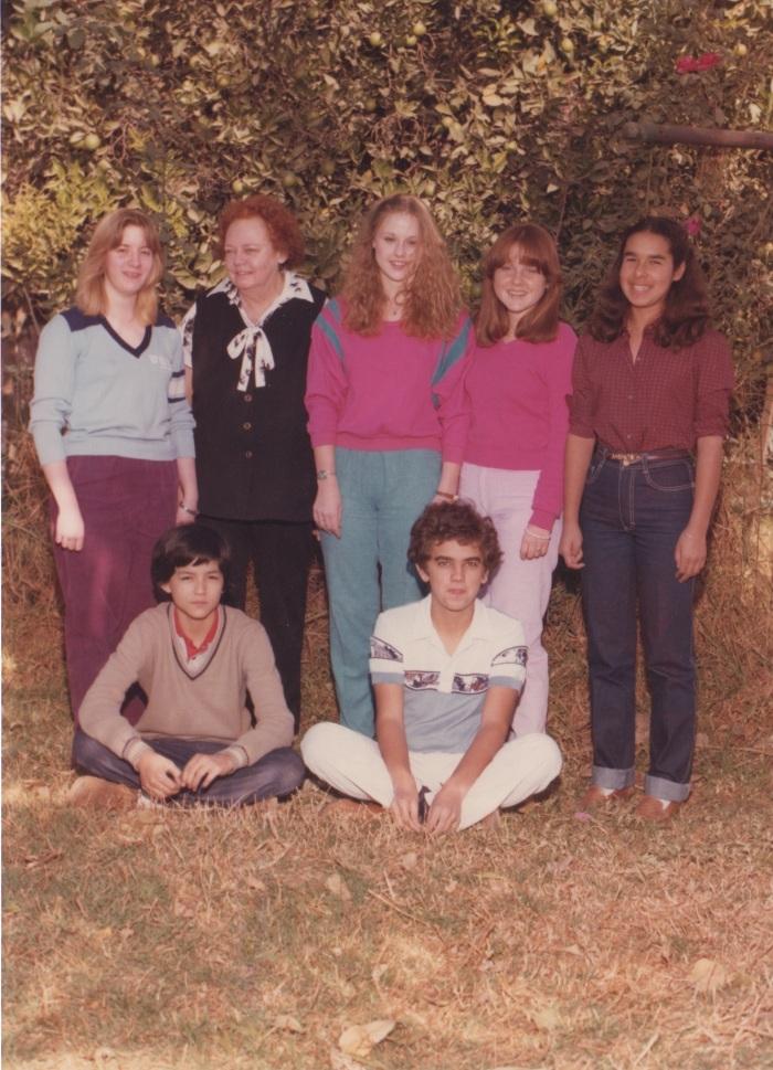 1984MmeBayetBoardOfTrusteesWithStudents