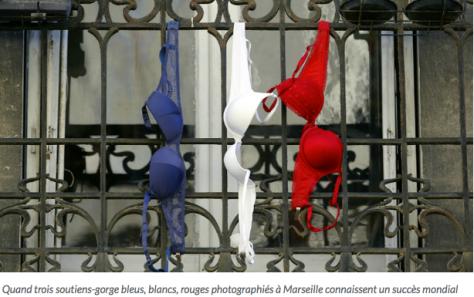 La photo des trois soutiens gorge bleu blanc rouge!